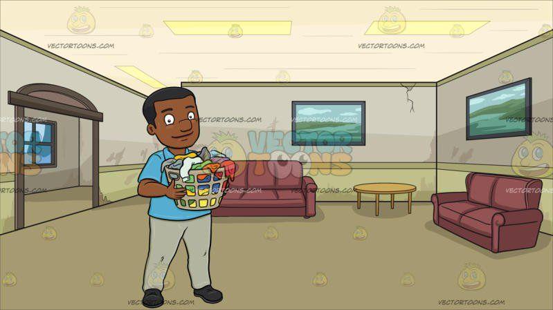 A Smiling Black Man Carrying A Plastic Laundry Hamper Full