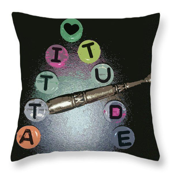 All Throw Pillows - A is for Attitude Throw Pillow by Lovina Wright
