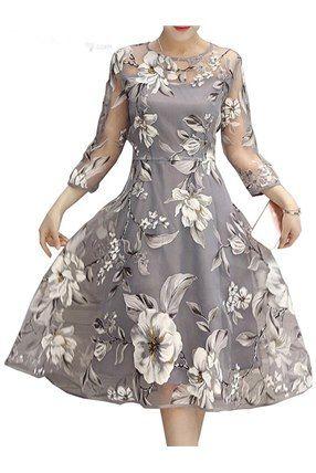 rundhals blumen muster design tageskleid mit bildern  kleider damen kleider für frauen