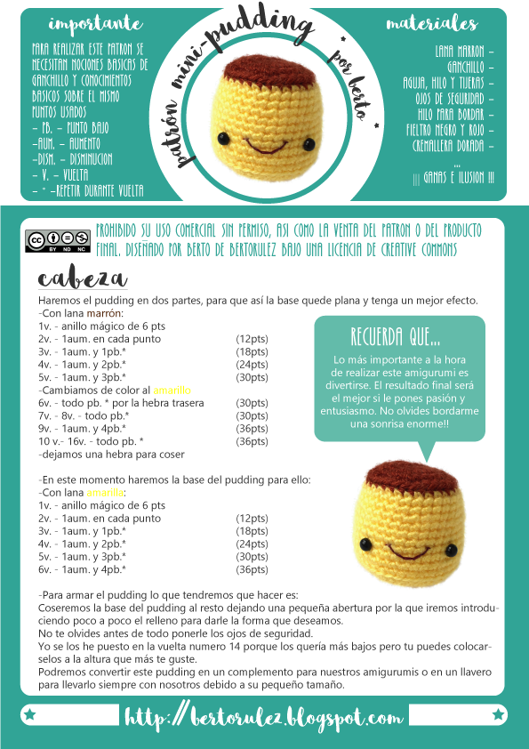 Bertorulez: Patrón llavero pudding | Amirogumi | Crochet cake ...
