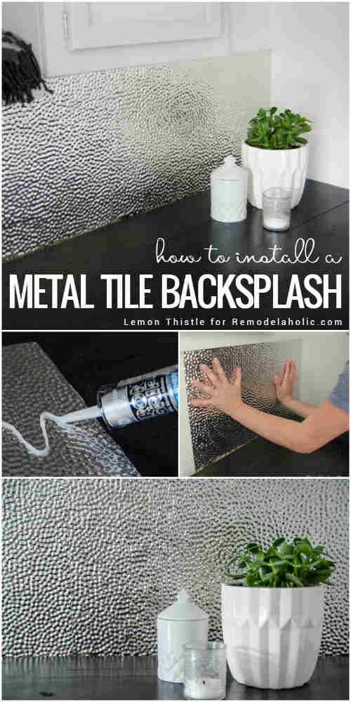 How to Install a Metal Ceiling Tile Backsplash decorating