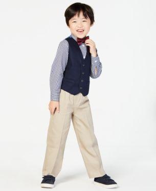 Pants Nautica Boys 3-Piece Dresswear Set with Dress Shirt and Bow Tie