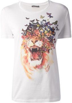 8064542e Alexander McQueen lion and butterfly print t-shirt on shopstyle.com ...