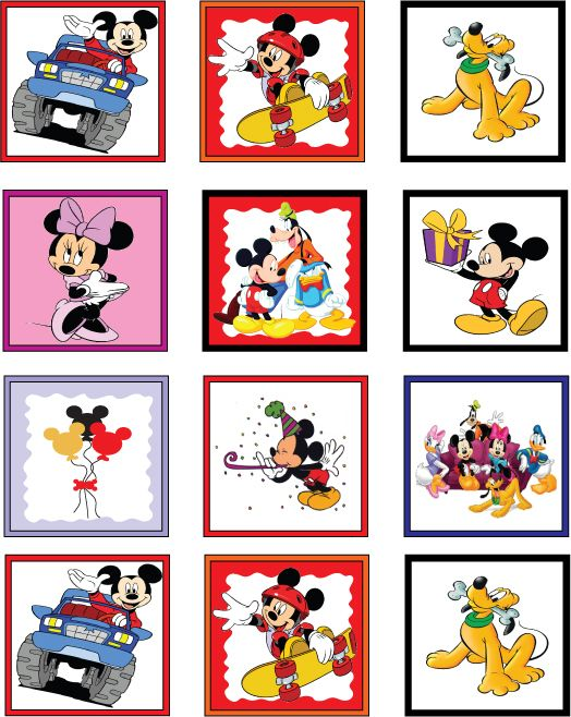 Mickey And Minnie Mouse Stickers.Free Mickey Mouse Gang Printable Stickers Mickey Party