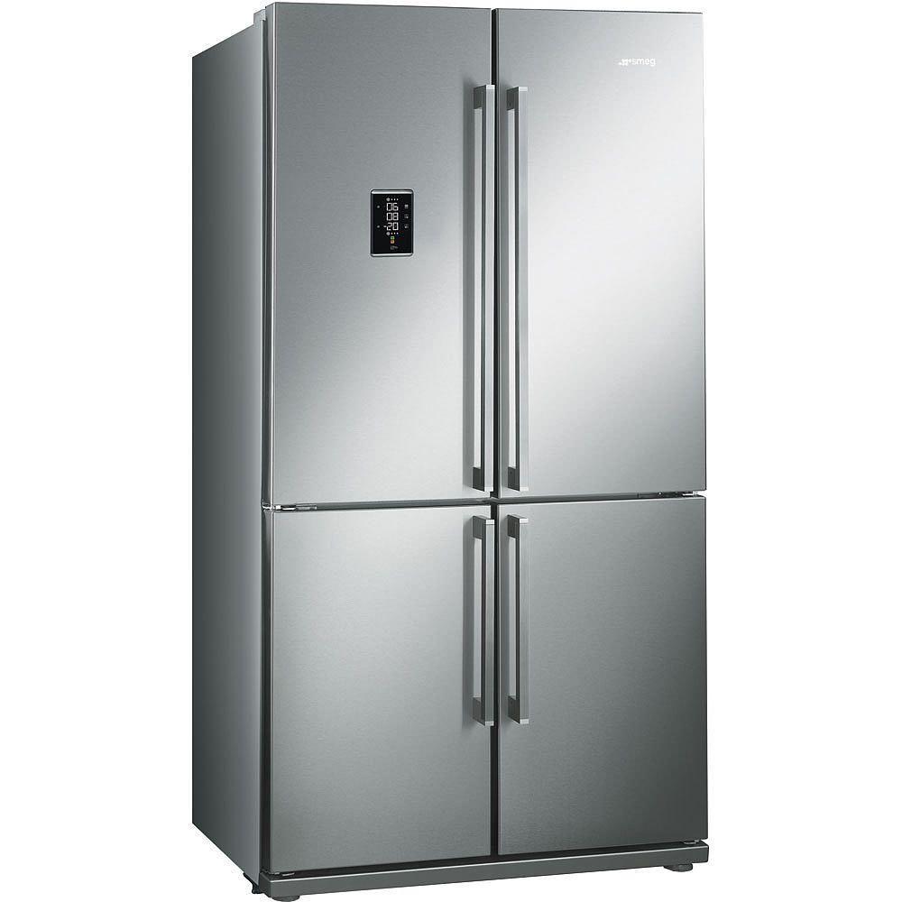 side by side kühlschrank mit türen in edelstahl und anti finger