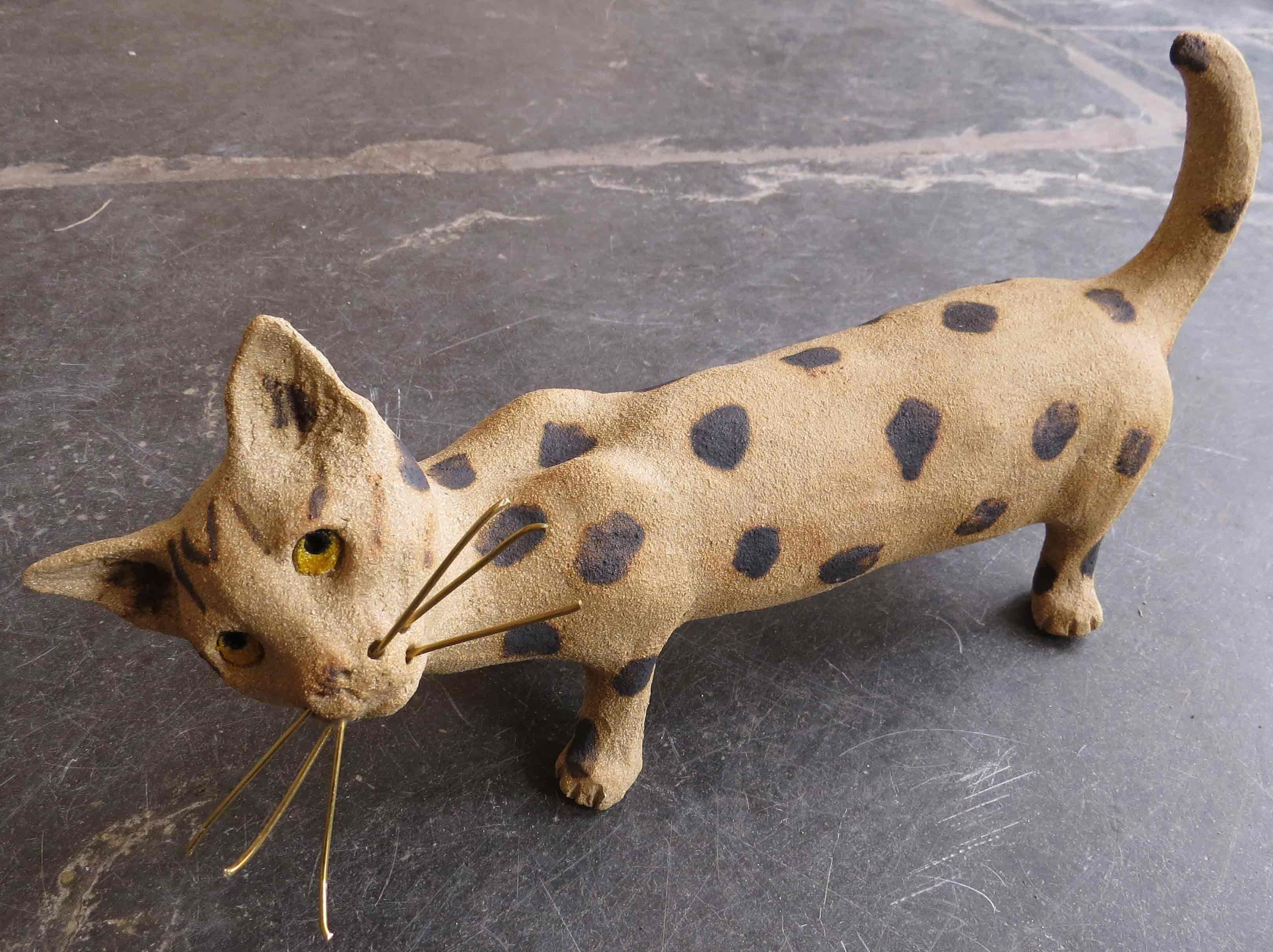 Maeve - stoneware ceramic cat with brass whiskers from Jane Adams Ceramics, Cornwall