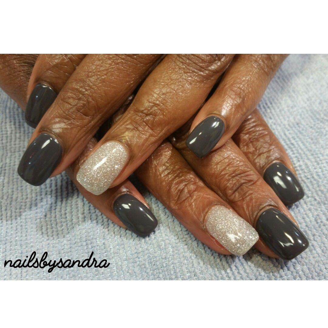 Dark gray gel polish from DND accent sparkling silver gel polish ...