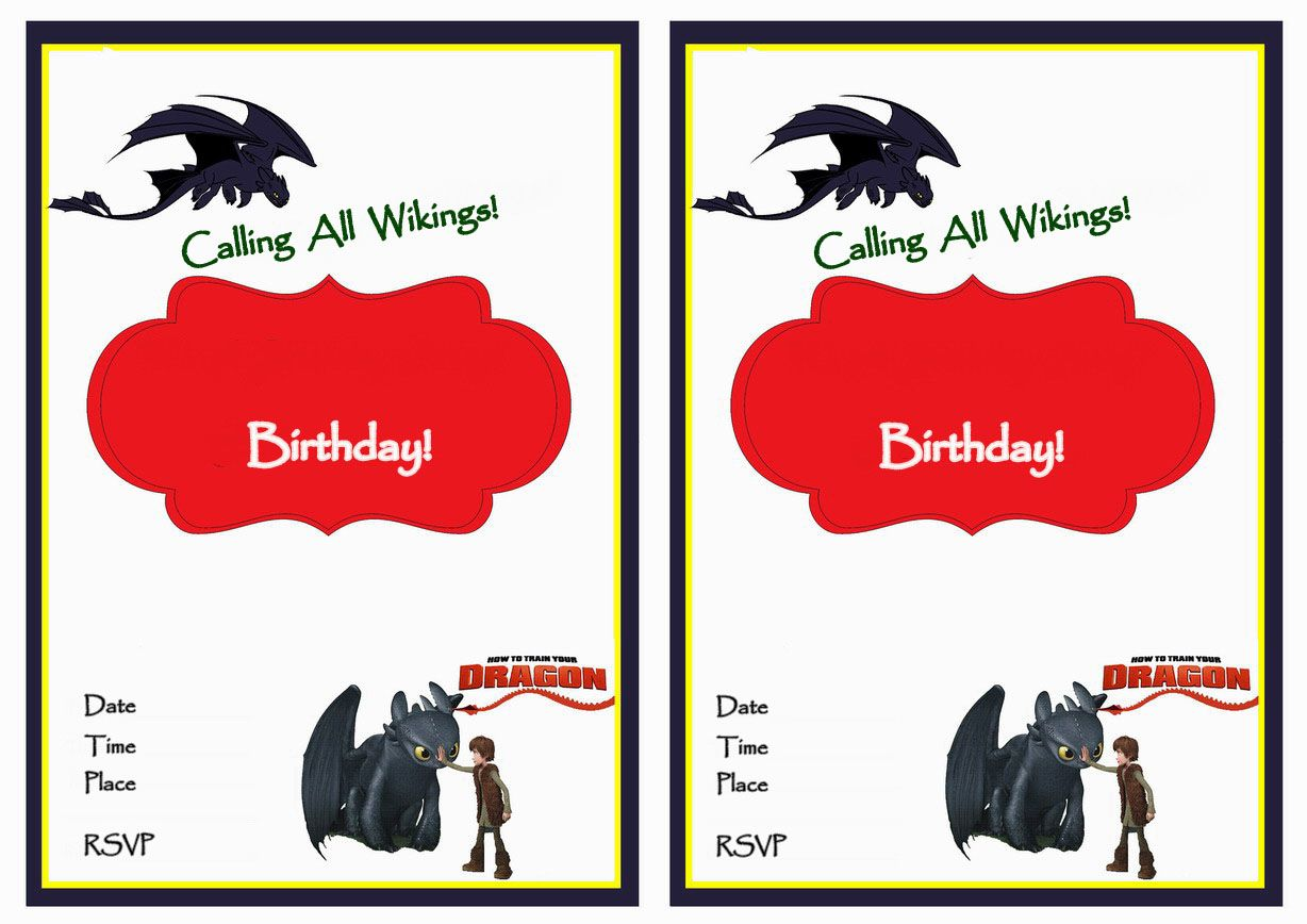 How to Train Your Dragon FREE Printable Birthday Party Invitations ...