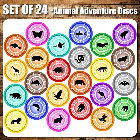 24 Set Animal Adventure Discs Inspired