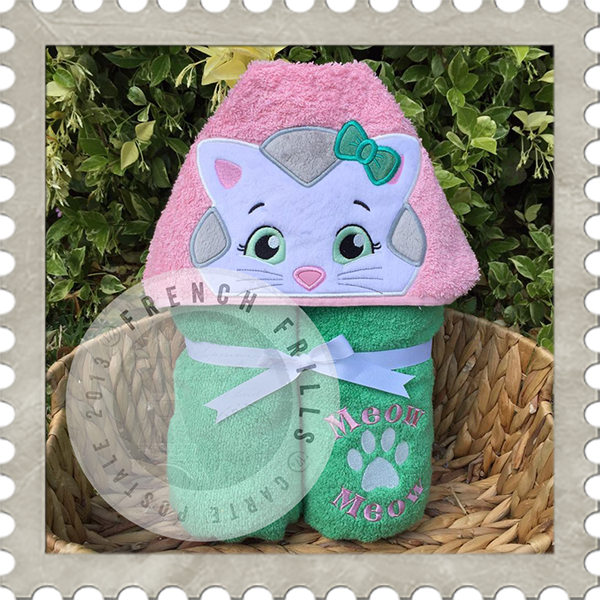 Hooded Towel with an embroidered cat character on it.