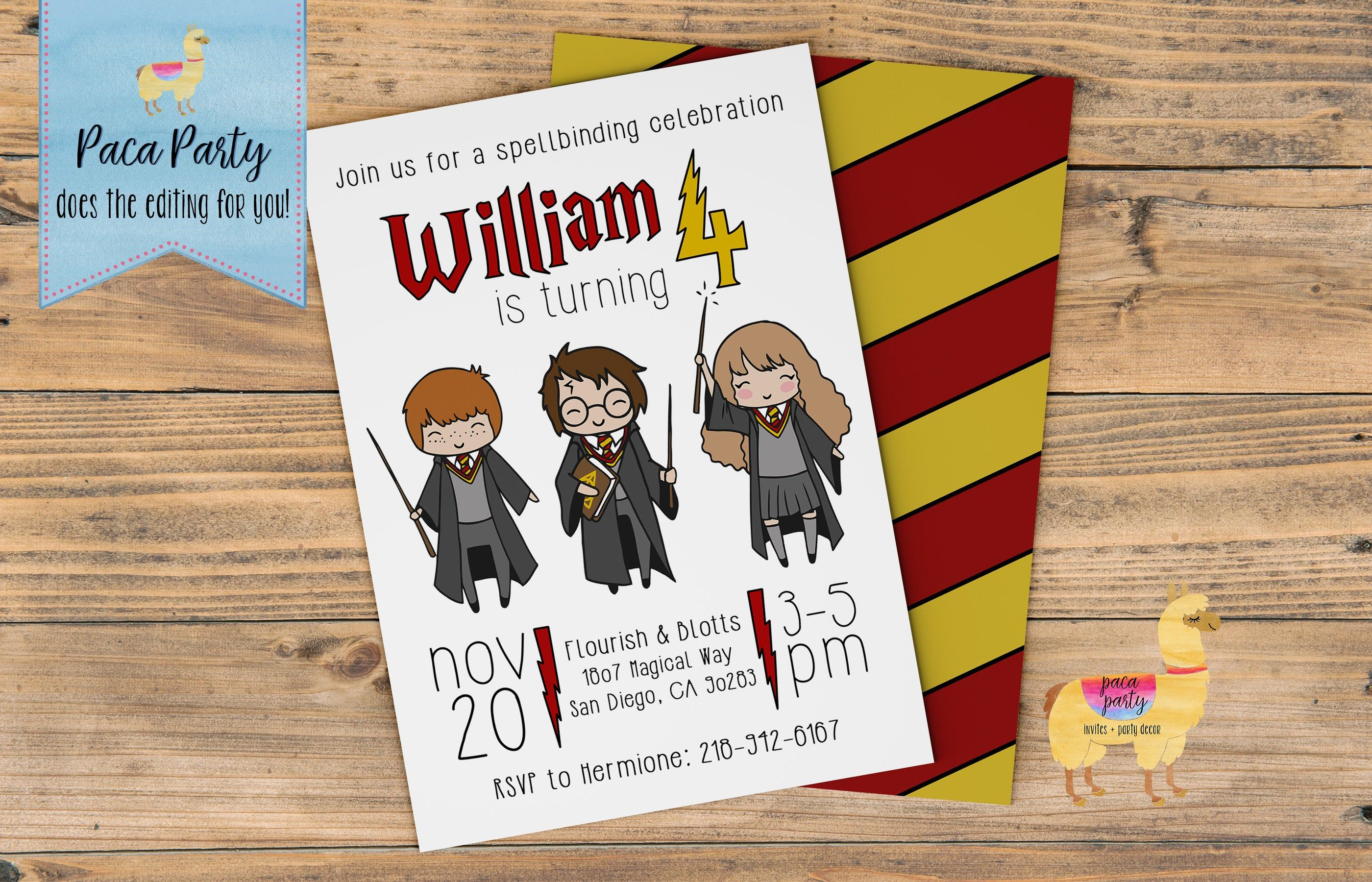 Harry potter birthday invitation magic invitation