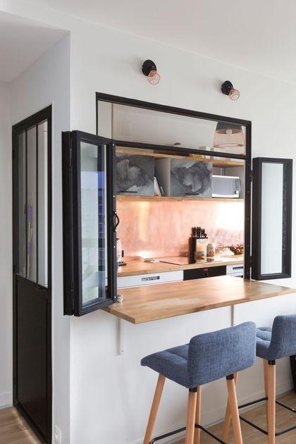 Appartement Malakoff  62 m2 design et colorés Narrow kitchen