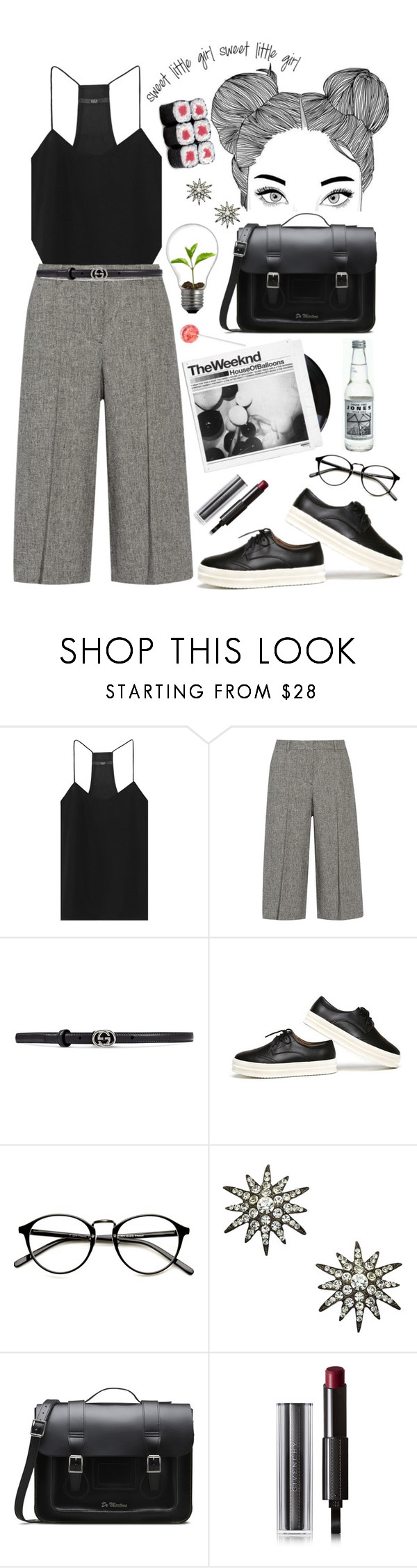 """"""""""" by lucielux ❤ liked on Polyvore featuring TIBI, Theory, Gucci, Yochi, Dr. Martens, Givenchy, vintage, GetTheLook, TrickyTrend and culottes"""