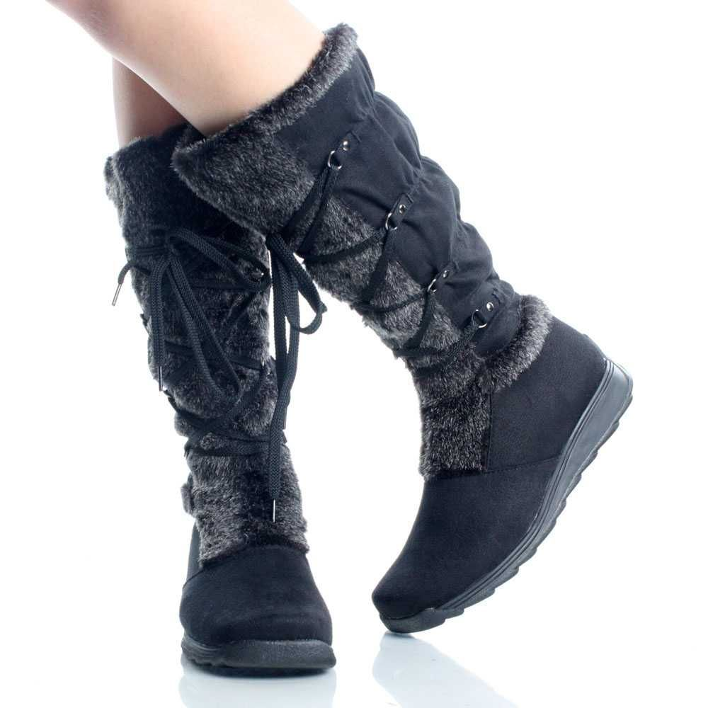 Black Suede Fur Winter Lace Up Snow Fashion Womens Mid Calf Boots