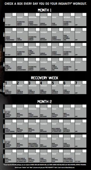 Insanity  Day Workout Calendar  Fitness    Workout