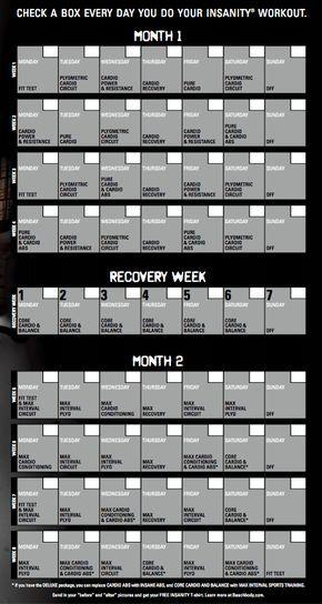 Insanity  Day Workout Calendar  Fitness    Workout
