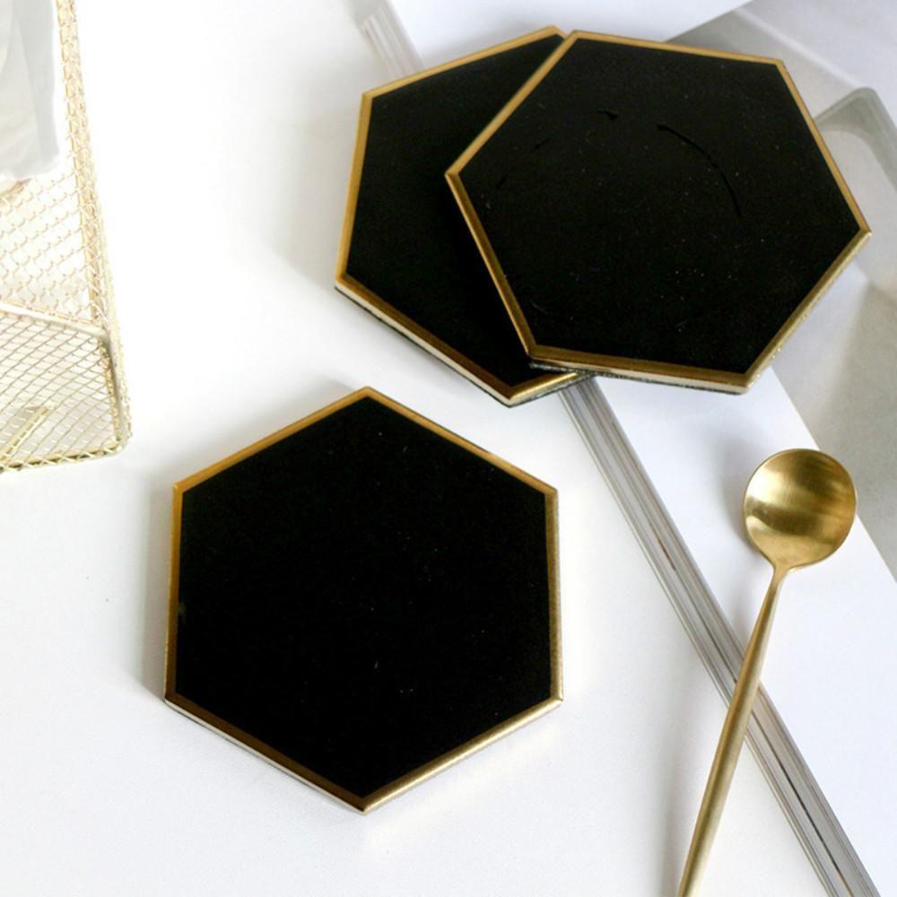 Nordic Hexagon Gold Edged Ceramic Coaster Ceramic Coasters Table Top Decor Modern Coasters