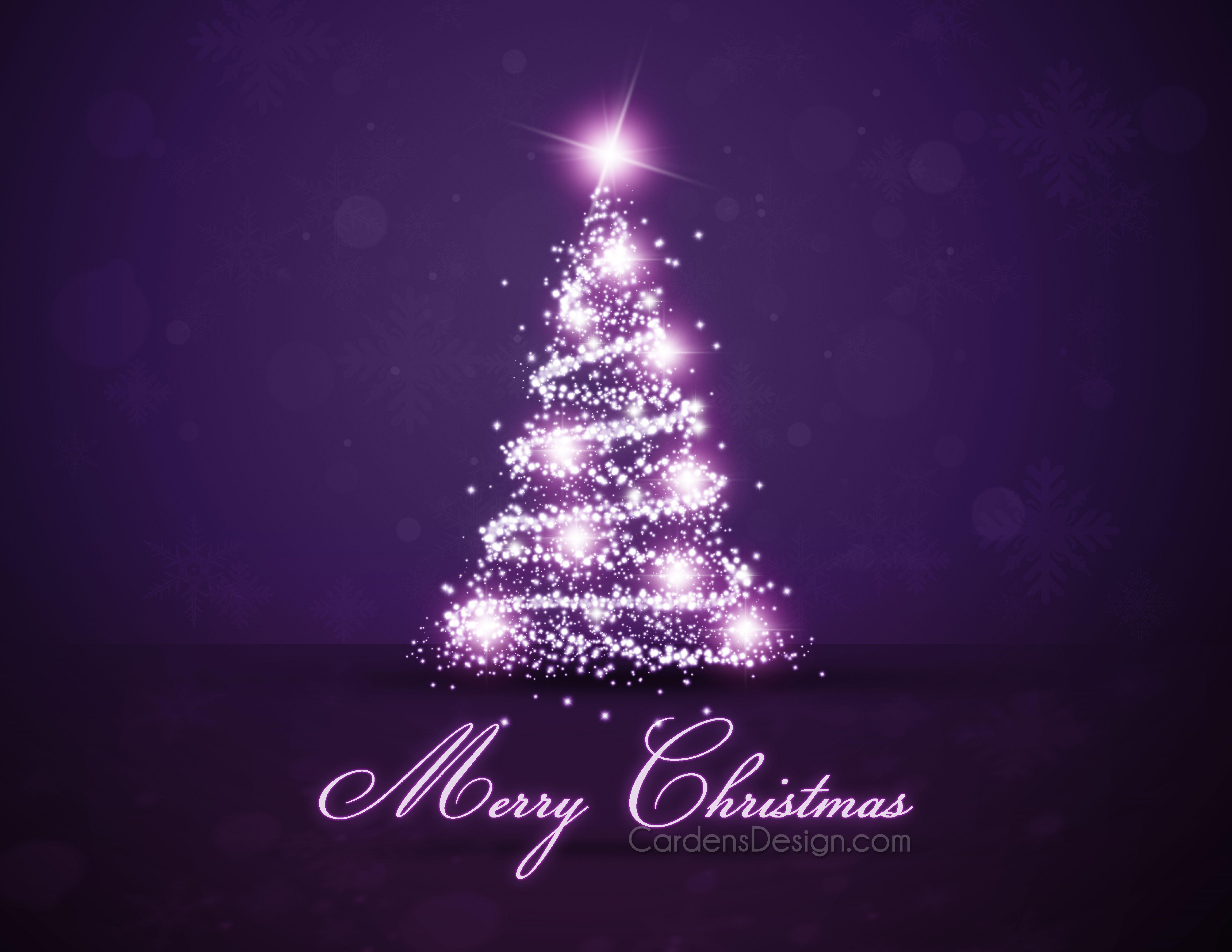 Christmas trees decorated purple - Great Christmas Card Purple Treespurple