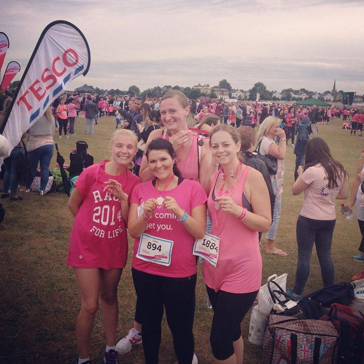 Louisa, Marie, Carol and Kim at Race for Life 2014 - Well Done Girls!