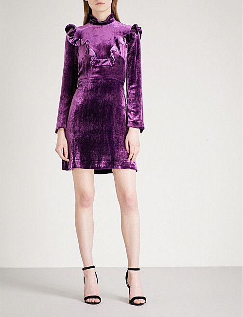 Sandro High Neck Velvet Dress Aw Research Dresses