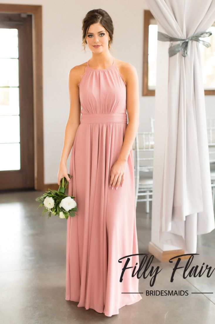 35b0576b6c72 Dazzle the guests at your amazing wedding with this beautiful dusty rose  and lace detail bridesmaid dress! Our Adeline full length dusty rose  bridesmaid ...