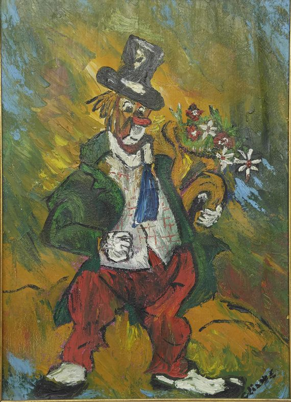 Clown Painting. French Oil Painting in Gold by LeBonheurDuJour
