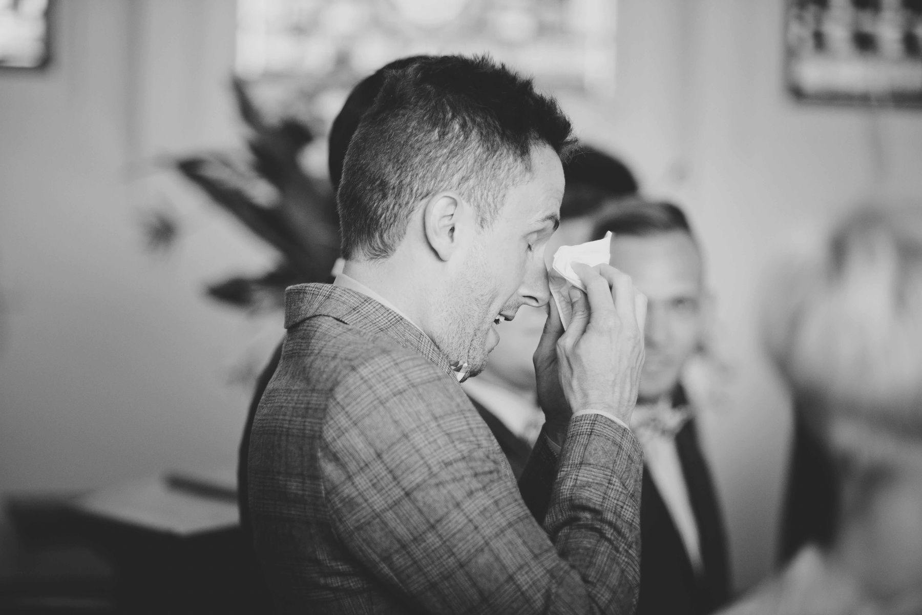 Kat Stanley Photography :: Groom :: Tears :: Black and white photography :: Wedding ceremony :: Church wedding