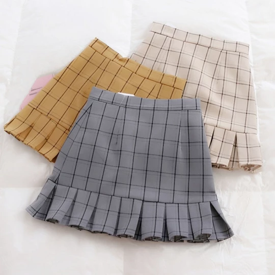 2018 Women Mini Skirts High Waist Harajuku Cute Sweet Skirts Pleated Vintage Plaid Skirts 4 Colors Fashion Mini Skirts #A007