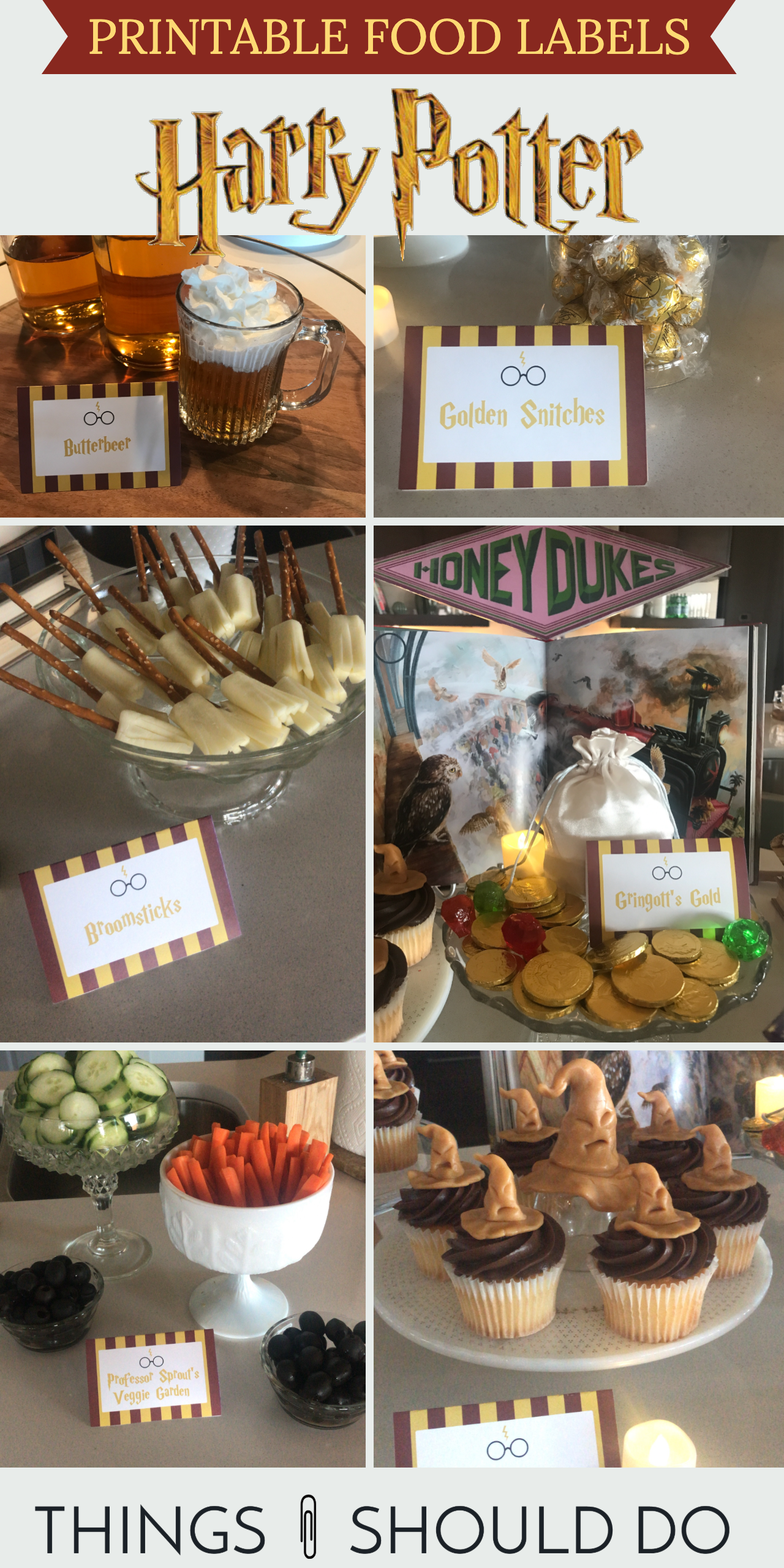 Harry Potter printable food labels! You'll love these Hogwarts-worthy food labels for your next Harry Potter party. Simple print them, fold and enjoy!