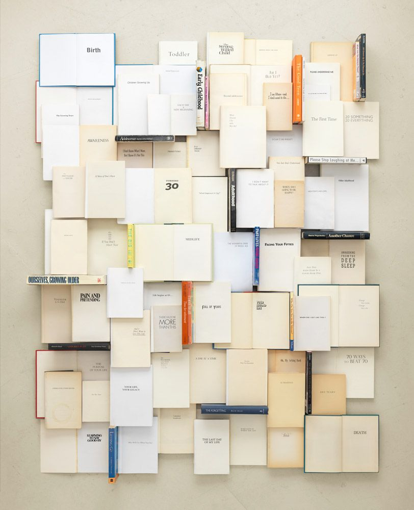 Life in books http://www.kentrogowski.com/projects/everything-i-wish-i-could-be/#