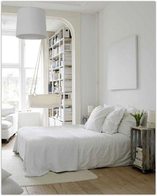 Notice how the Wide Plank Floor compliments the bright feel of this Scandinavian style bedroom