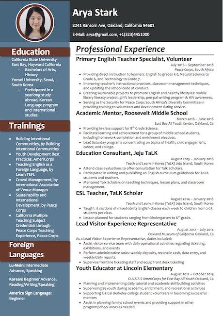 resume word template format