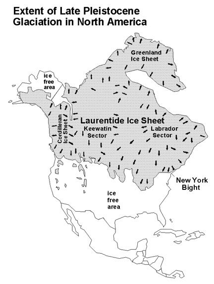 """Maximum extent of ice on North American continent during last glacial period (""""Ice Age"""") circa 12,000 years b.p."""