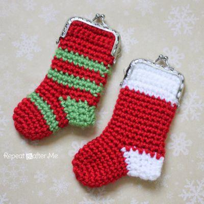 Crochet media de la Navidad de la moneda patrón Monedero | Navidad ...