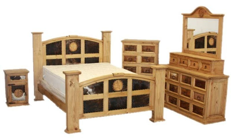 Mansion Rustic Bedroom Set With Cowhide And Stars Rustic Bedroom Sets Rustic Bedroom Rustic Bedroom Furniture Sets