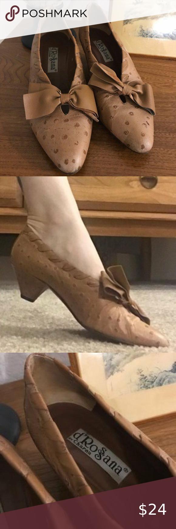 Vintage D Rossana By Charna Kitten Heels In 2020 Kitten Heels Shoes Heels Vintage Ostrich Leather