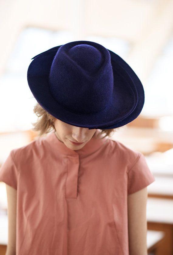 On sale Women navy blue felt fedora wide brim hat   Millinery- winter fall  handmade hand blocked blue hat   Wedding hat be193f229
