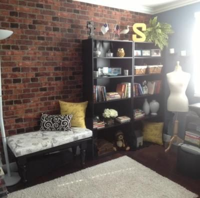 brick wallpaper on accent wall hang old vintage signs on it home rh pinterest com