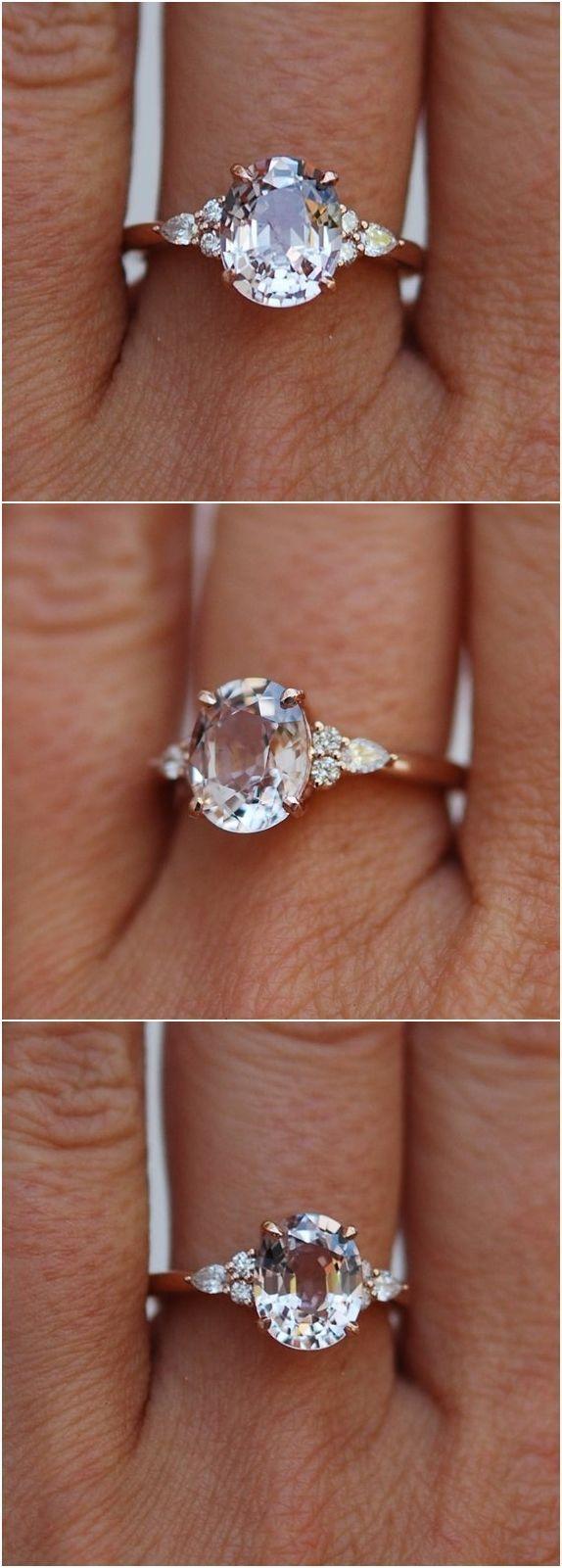 Moody Verlobungsring. Farbwechsel Saphir Ring. Ring aus ovalem Ring aus Rotgold-…