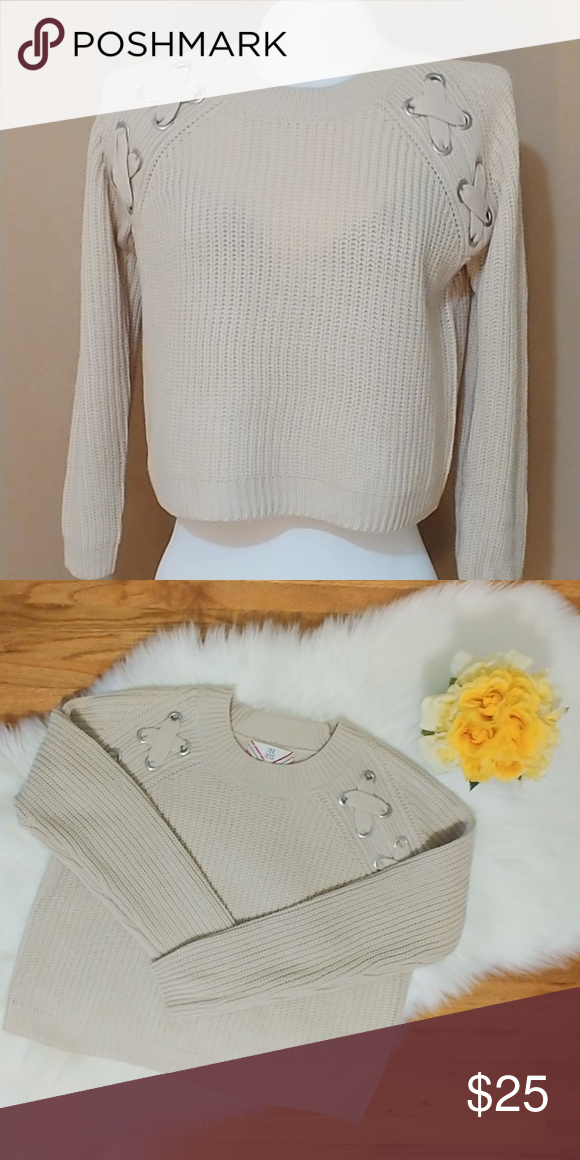 a3b9339ed90 Pink Rose Sweater - NWOT Soft cream knit sweater Thick criss cross shoulder  detail Shoulder to