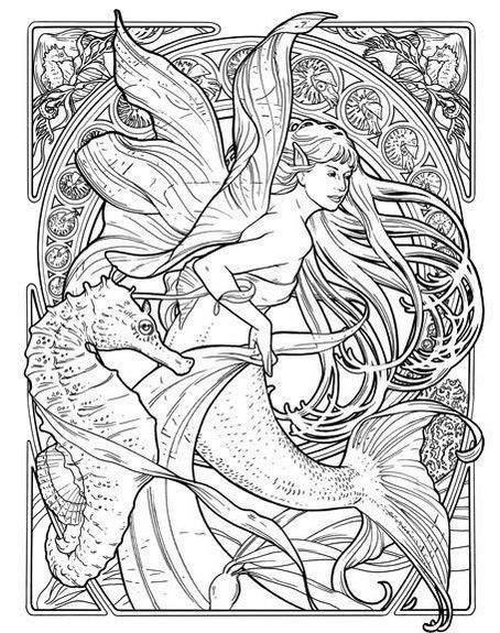 Seahorse and Mermaid Coloring Page Illustration is part of Mermaid coloring pages -