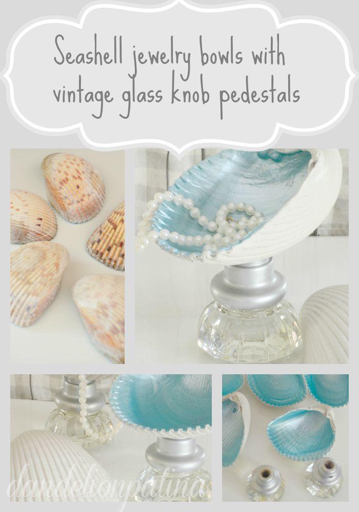 Shell jewelry bowls & glass knob pedestals | Glass door knobs, Door ...