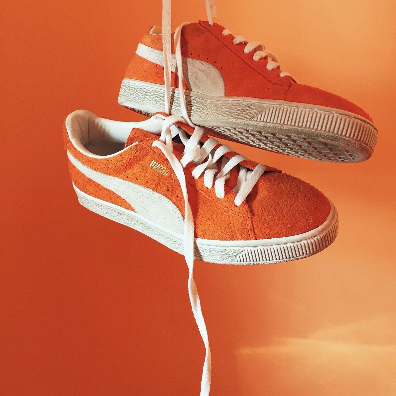 Puma suede orange outfit Style vintage