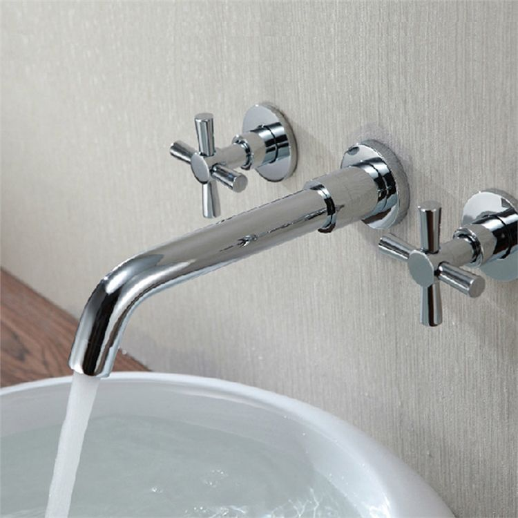壁付水栓 バス水栓 洗面蛇口 冷熱混合水栓 2ハンドル 蛇口 水栓 洗面