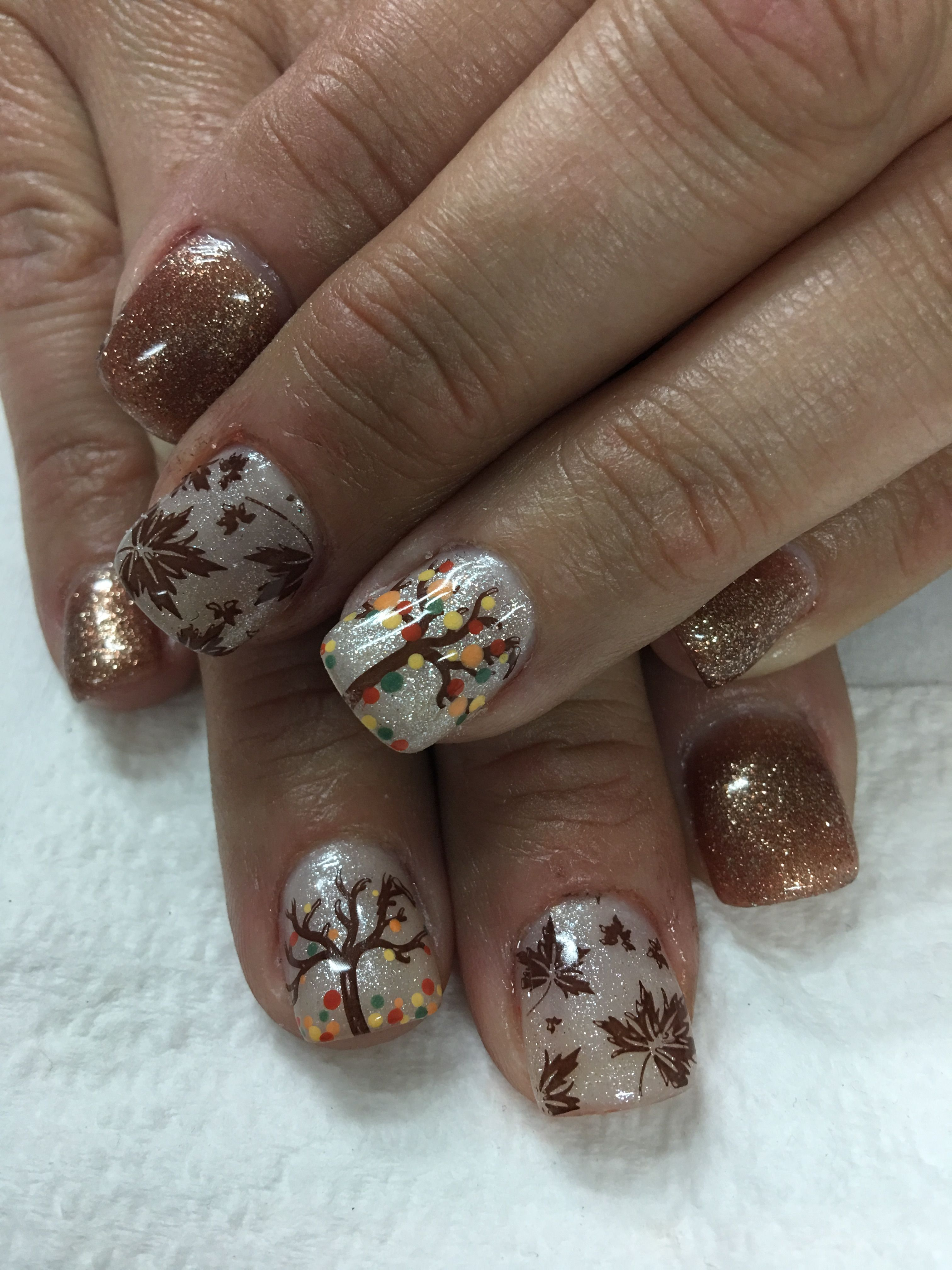 Fall Gel Nails Copper Glitter Shimmer Off White Stamped Leaves And Falling Leaves Tree Fall Gel Nails Nail Designs Fall Nail Art Designs