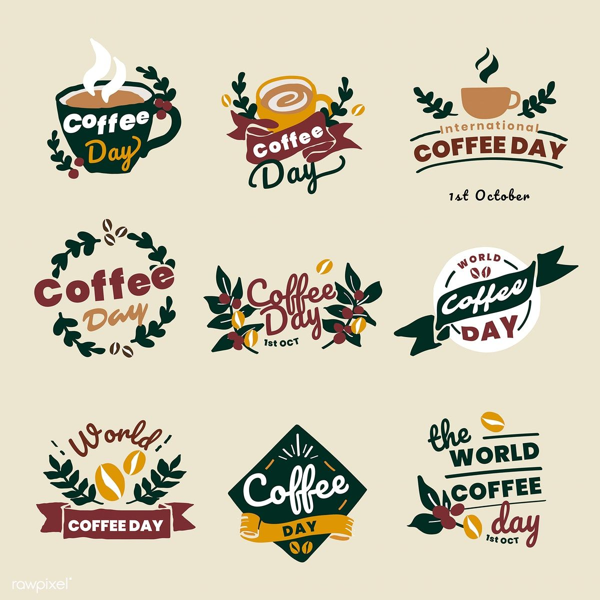 Download premium vector of International coffee day logo