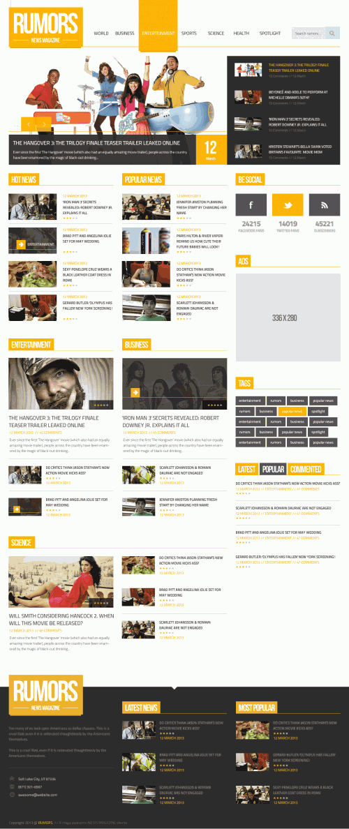 News Magazine Homepage PSD Template   Webデザイン, デザイン