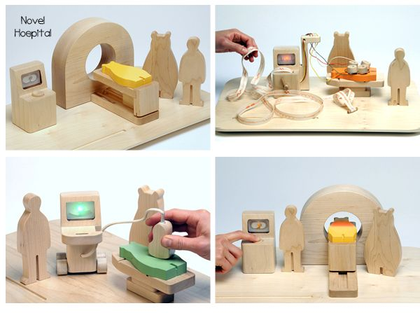 'Novel Hospital Toys' is a toy set consisting of toy models of machines, such as CT, X-ray, ECHO(echocardiograph), ECG (electrocardiograph), as well as picture books of explaining machines. Hikaru Imamura
