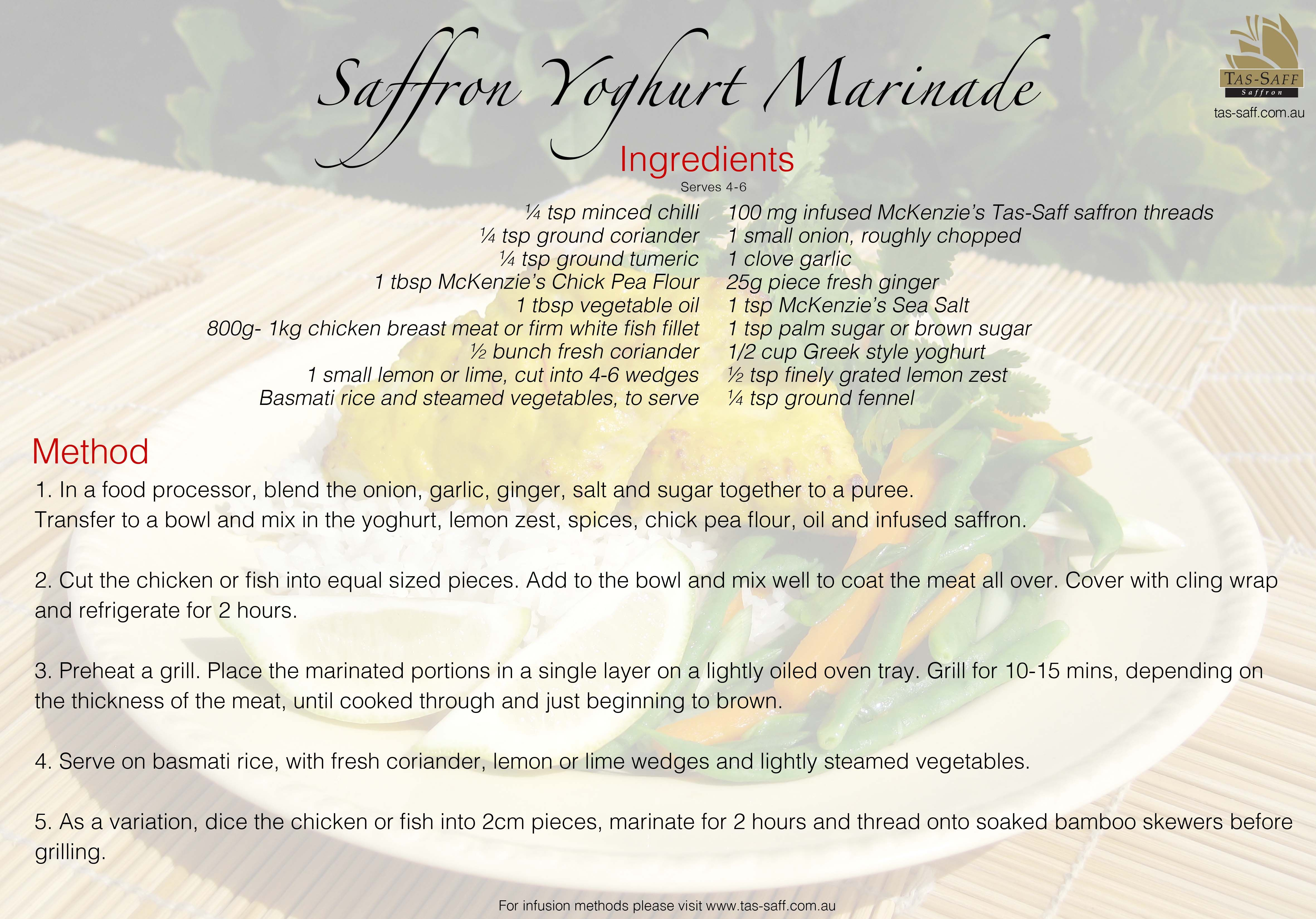 Tas-Saff have created some great original #recipes to try over #Easter. Try our Saffron Yoghurt Marinade!