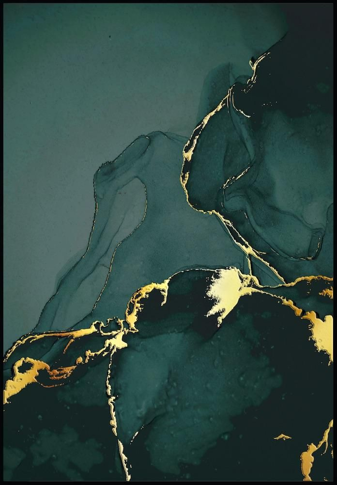 Green Marble Real Gold Poster - 21x30cm